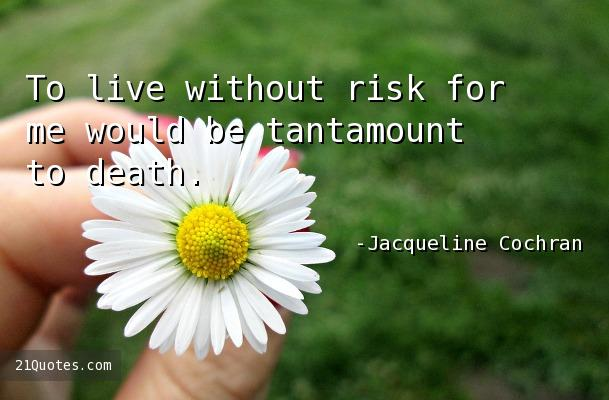 To live without risk for me would be tantamount to death.