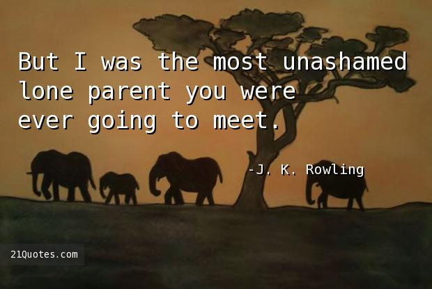 But I was the most unashamed lone parent you were ever going to meet.