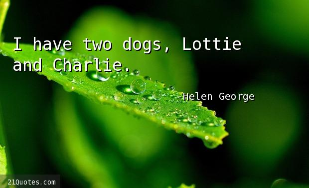 I have two dogs, Lottie and Charlie.