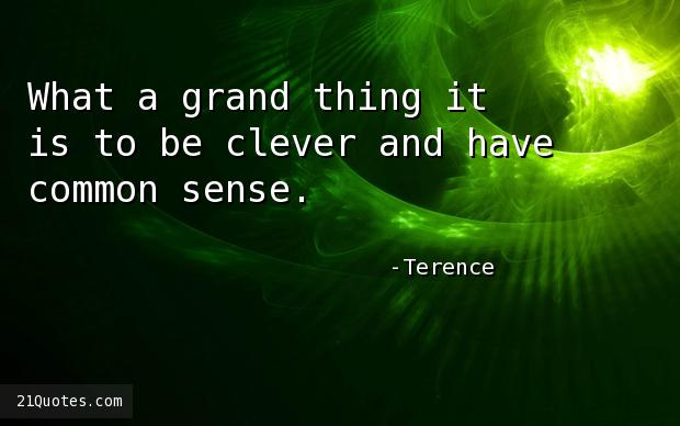 What a grand thing it is to be clever and have common sense.