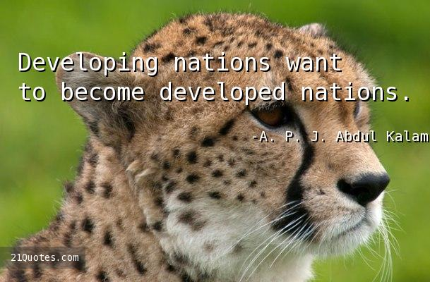 Developing nations want to become developed nations.