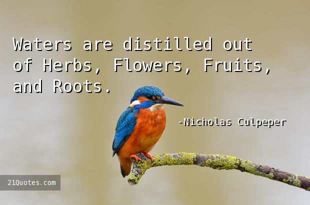 Waters are distilled out of Herbs, Flowers, Fruits, and Roots.