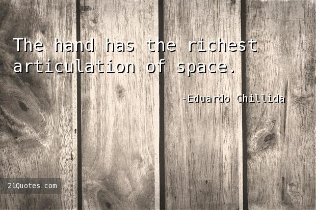 The hand has the richest articulation of space.