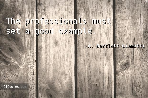 The professionals must set a good example.