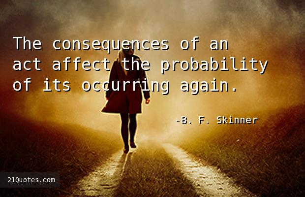 The consequences of an act affect the probability of its occurring again.