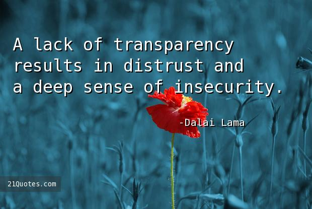 A lack of transparency results in distrust and a deep sense of insecurity.
