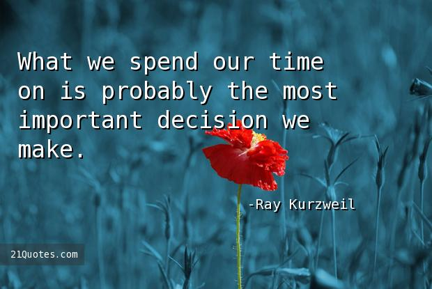 What we spend our time on is probably the most important decision we make.